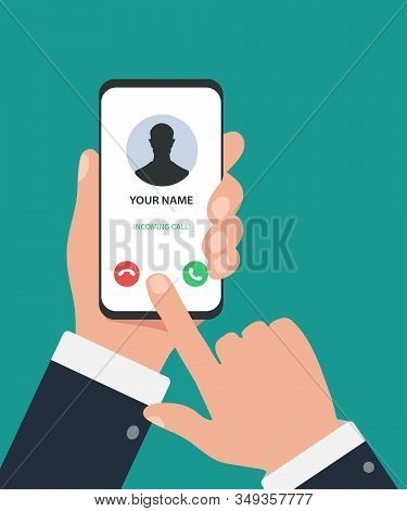 The Hand Holds The Smartphone Incoming Call On Screen. Incoming Call On Smartphone Screen. Calling S