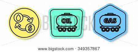 Set Line Oil Exchange, Water Transfer, Convert, Oil Railway Cistern And Gas Railway Cistern. Colored