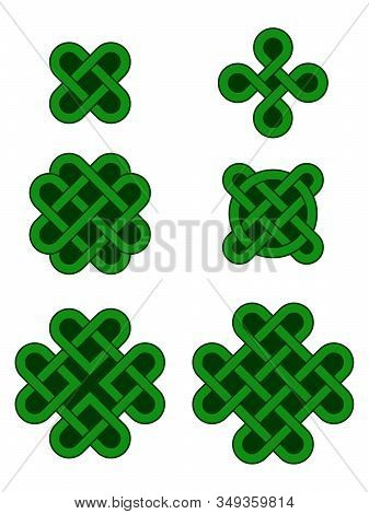 Vector Collection Of Green Celtic Shamrock Symbols