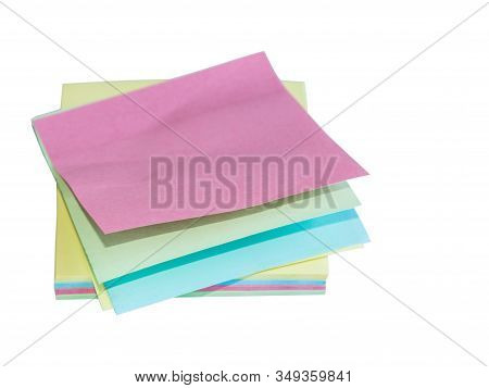 Colorful Office Stickers Isolated On White Background. Stack Of Memo Notepaper.