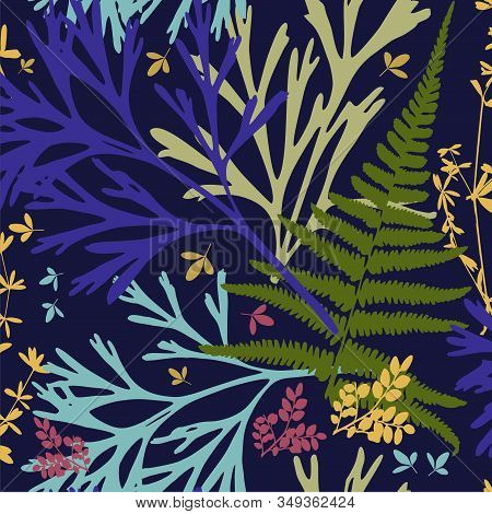 Seamless Stylish Leaves Pattern. Seamless Set Silhouettes Of Botanical Elements. Branches With Leave