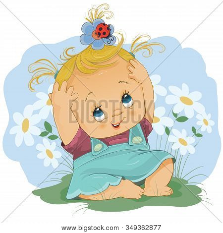 Little Girl Sitting In A Turquoise Dress Among White Daisies And She Has On Her Head An Insect Which
