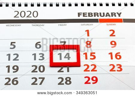 Calendar With A Special Date For Valentine's Day Marked With A Red Square