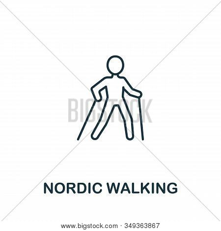 Nordic Walking Icon From Elderly Care Collection. Simple Line Element Nordic Walking Symbol For Temp