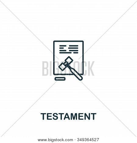 Testament Icon From Elderly Care Collection. Simple Line Element Testament Symbol For Templates, Web