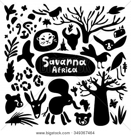 Stylized Animals Of The Savannah In Africa. Black And White Icons In Minimalistic Doodle Style. Cart