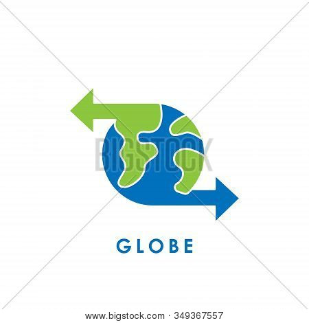 World Globe. Globe icon. Globe vector. Globe icon vector. Globe logo. Globe symbol. Globe with arrow icon. World vector. Globe icon isolated on white background. World globe vector icon modern and simple flat symbol for website, mobile, logo, app, UI.