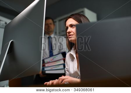 Competent And Experienced Woman Works On Computer. Office Has Created Ideal Conditions For Self-orga