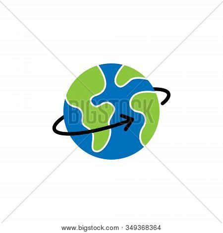 World Globe. Globe icon. Globe vector. Globe icon vector. Globe logo. Globe symbol. Globe with arrow icon. World vector. Globe icon isolated on white background. World globe vector icon modern and simple flat symbol for website, mobile, logo, app, UI.