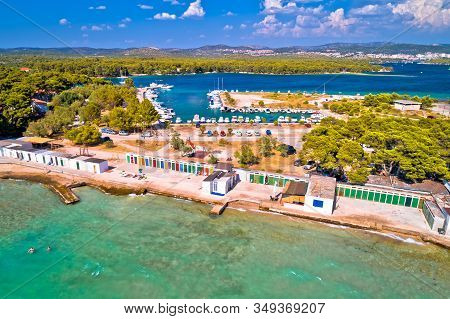 Jadrija Beach And Colorful Cabins Aerial View, Tourist Destination In Sibenik Archipelago Of Croatia