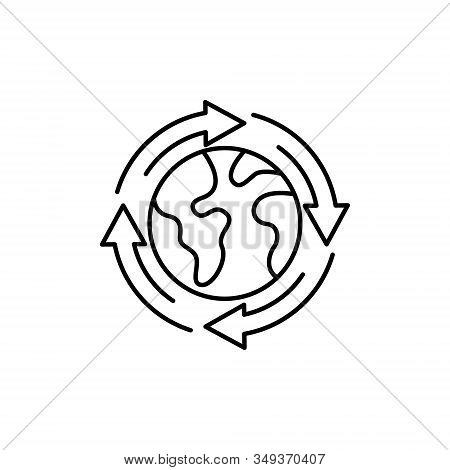 World Globe. Globe icon. Globe vector. Globe icon vector. Globe logo. Globe symbol. Globe icon with arrow. World vector. Globe icon isolated flat on white background. World globe vector icon modern and simple flat symbol for website, mobile, logo, app, UI