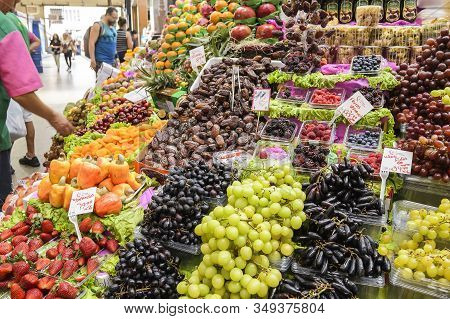 Sao Paulo Sp, Brazil - November 22, 2019: Fresh Fruits Being Sold At Mercado Municipal, Also Known A