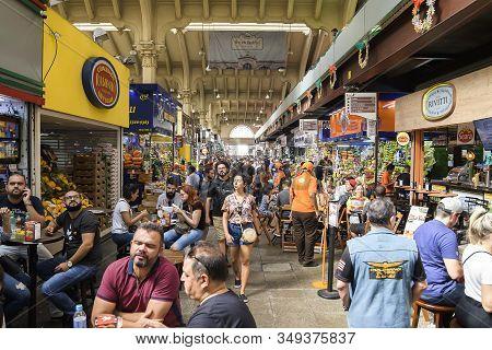 Sao Paulo Sp, Brazil - November 22, 2019: Indoors Of Mercado Municipal, Also Known As Mercadao De Sa
