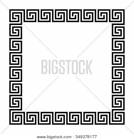 Disconnected Meander, Square Frame, Made Of Seamless Meander Pattern. Meandros. Decorative Border Wi