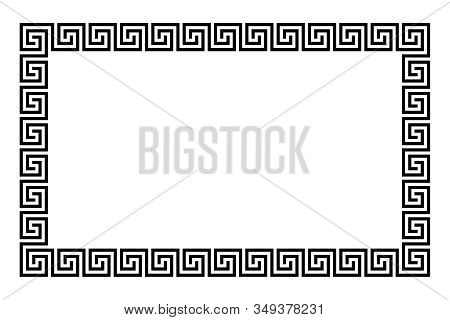 Disconnected Meander Rectangle Frame Made Of Seamless Meander Pattern. Meandros. Decorative Border W