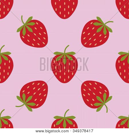 Seamless Background With Strawberries. Cute Vector Strawberry Pattern. Summer Fruit Illustration On