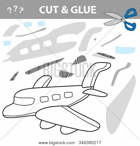 Cut And Glue To Create Image Of Airplane - Air Transport. Educational Game For Children.