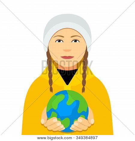 Kiev, Ukraine February 4, 2020: Greta Thunberg In A Yellow Cloak Holds The Planet Earth In Her Hands