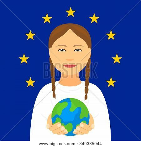 Kiev, Ukraine February 4, 2020: Greta Tunberg On The Background Of The Flag Of The European