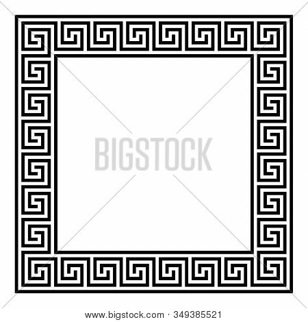 Square Framed Disconnected Meander Pattern Made Of Seamless Meanders. Meandros. Decorative Border Wi