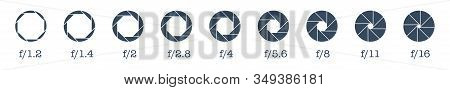 Camera Lens Diaphragm Row With Aperture Value Numbers.camera Shutter Icons Set. Vector Camera Shutte