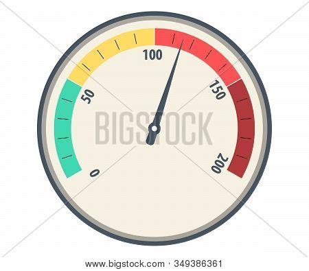 Speedometer Basic Vector. Color Speedometer Icon. Speedometers Or General Indicators With Needles. S
