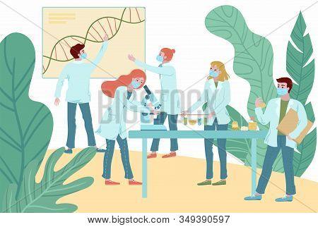 Coronavirus Antivirus Medical Research Vector Illustration, People Doctors Team Working Science Labo