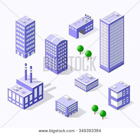 Town Violet District Of The City In Isometric Landscape