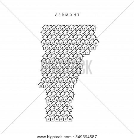 Vermont Real Estate Property Map. Icons Of Houses In The Shape Of A Map Of Vermont. Creative Concept
