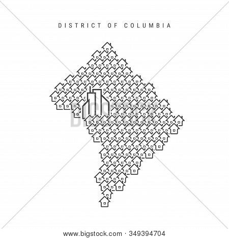 Washington, D.c. Real Estate Property Map. Icons Of Houses In The Shape Of A Map Of District Of Colu