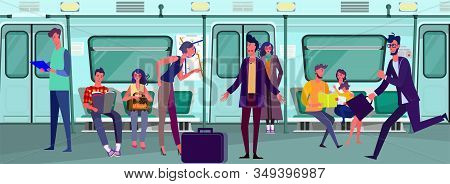 Passengers Travelling By Subway Train. Commuters, Carriage, Quarrel Flat Vector Illustration. Commut