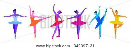 Vector Set Of Hand Draw Ballerinas In Trendy Colors On A White Background. Purple, Blue And Pink Neo