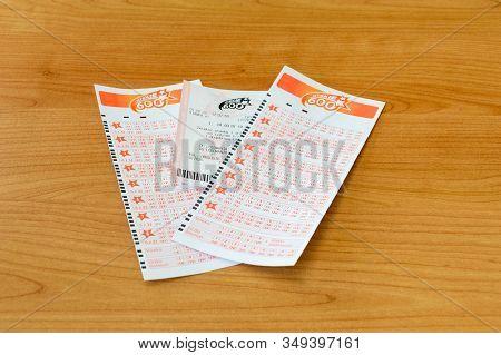Pruszcz Gdanski, Poland - February 5, 2020: Szybkie 600 Lotto Lottery Ticket.
