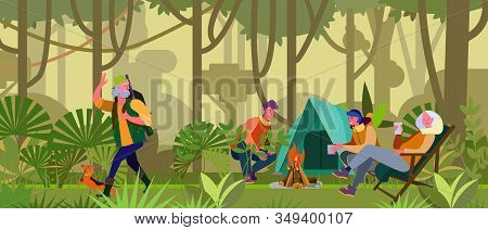 Family Enjoying Camping. Tent, Bonfire, Hunter, Forest Flat Vector Illustration. Adventure Travel, O