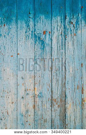 Aged Natural Old Blue Color Obsolete Wooden Board Background. Grungy Vintage Wooden Surface. Painted