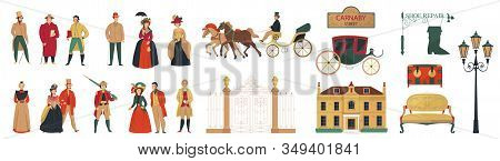18th 19th Century Old Town Fashion Set With Isolated Icons Of Furniture Buildings And Human Characte