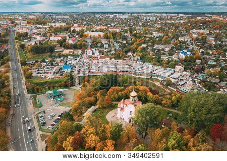 Mahiliou, Belarus. Mogilev Cityscape With Temple Of The Holy Royal Martyrs And New Martyrs And Confe