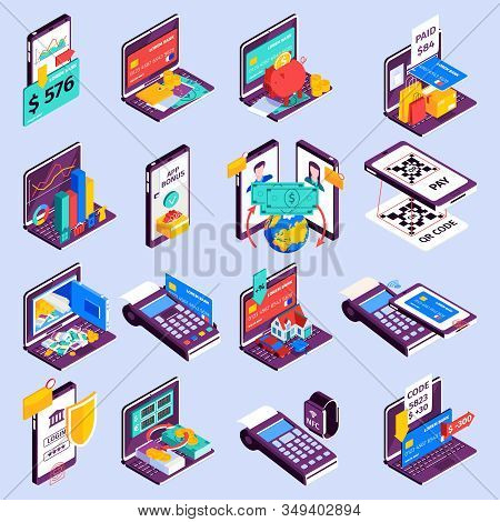 Online Banking Icons Set With Cash Flow Symbols Isometric Isolated Vector Illustration