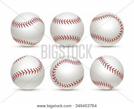 Baseball Ball Isolated White Icon. Softball Set Vector Base Ball Equipment Illustration