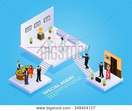 Special Agent Spy Isometric Composition With Platforms Stairs Spy Thriller Elements And People With