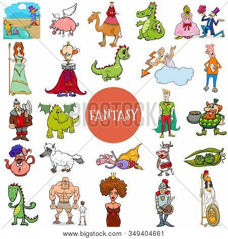 Cartoon Illustration Of Fantasy Or Fairy Tale Comic Characters Large Set