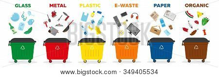 Waste Sorting Recycling Concept. Containers For Garbage Of Different Types: Glass, Paper, Matal, Pla