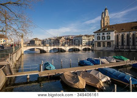 Beautiful View Of Historic City Center Of Zurich With Famous Grossmunster Church And Munsterbucke Br