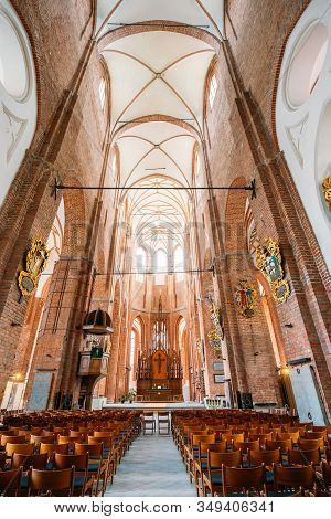 Riga, Latvia - July 1, 2016: Nave Of St. Peters Church Interior, Central Part Of Church Building For