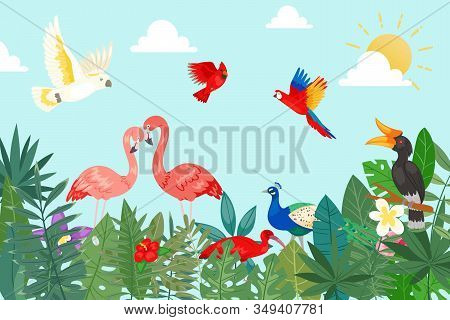 Tropical Birds In Exotic Nature With Palm And Banana Leaves On Blue Sky Backdrop Vector Illustration
