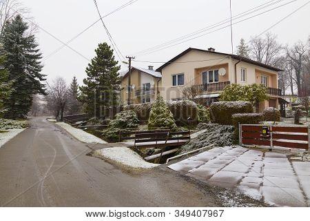 Winter In Smrecany ( Smrečany )  Village Near Town Of Liptovský Mikuláš. Liptov Region. Western Tatr