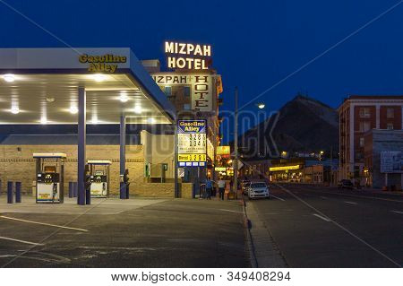 Tonopah, Nevada- 02 June 2015: The Mizpah Hotel And The Gas Station. This Historic Hotel Was The Tal