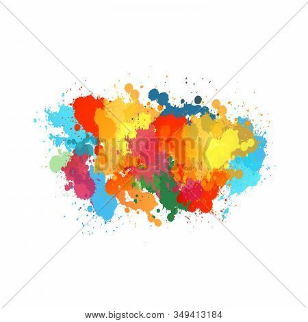 Vector Watercolor. The Colors Of The Rainbow, Colorful Vector Watercolor Splashes, Drops And Blot. T