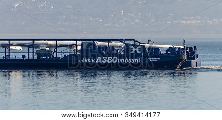 Greenfield, Uk: Feb 06, 2020: The Afon Dyfrdwy Carries The First Of The Final 2 Airbus A380 Wiings.