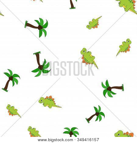 Seamless Pattern Of Dinosaurus Stegosaurus And Palm Coconut. Isolated On White Background. Vector Il